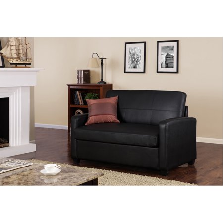 Mainstays sofa sleeper black faux leather walmartcom for Small spaces sectional sofa black faux leather
