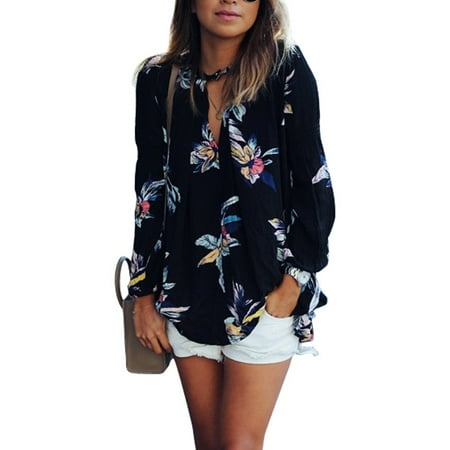 Nlife Women Floral Print Casual See Through Long Sleeve Chiffon Shirt Blouse Tops