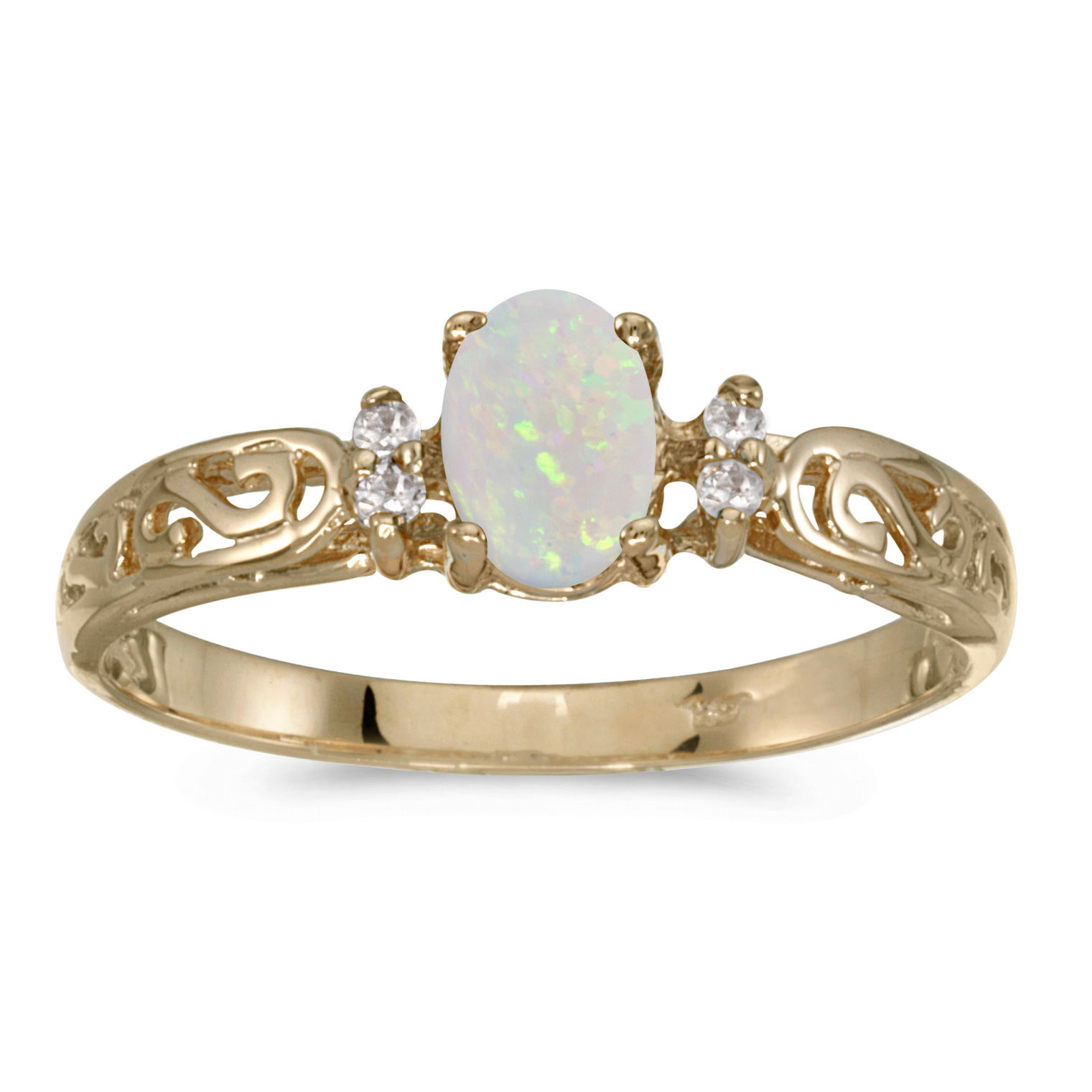14k Yellow Gold Oval Opal And Diamond Filagree Ring by