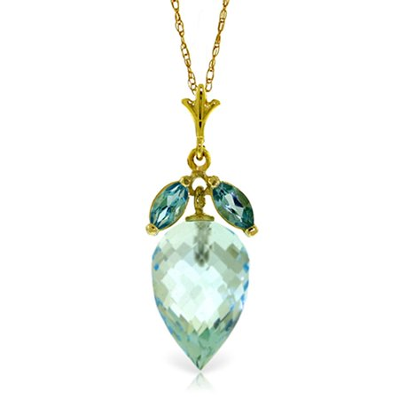 ALARRI 11.75 Carat 14K Solid Gold Necklace Pointy Briolette Blue Topaz with 18 Inch Chain Length.