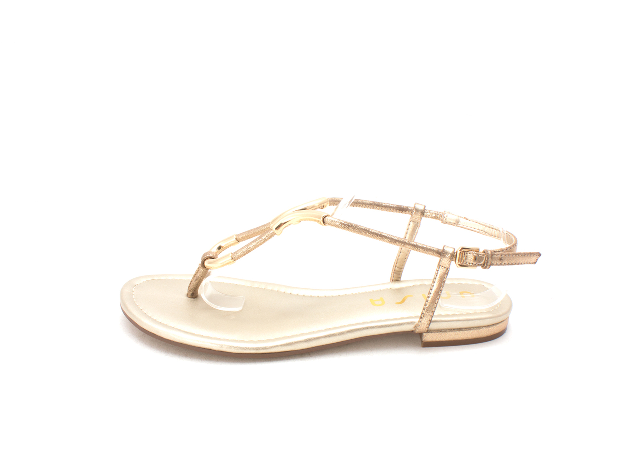 Unisa Womens DELSON Open Toe Casual Ankle Strap Sandals, Gold, Size 8.0