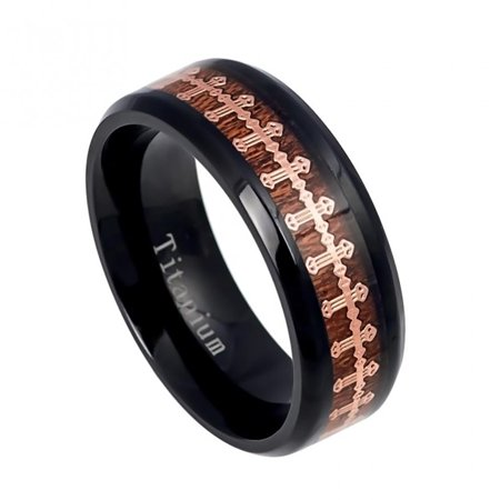 Black Titanium Cross (8mm Black IP Titanium with Rose Gold IP Wrap-around Cross over Rosewood Inlay Wedding Band Ring For Men Or)