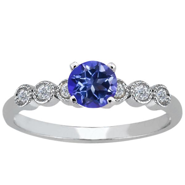 1.14 Ct Round Purple Blue Mystic Topaz 14K White Gold Ring