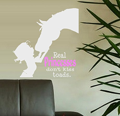 """Decal ~ Real PRINCESSES don't kiss Toads ~ Wall or Window Decal (20"""" x 21"""", White/pink)"""