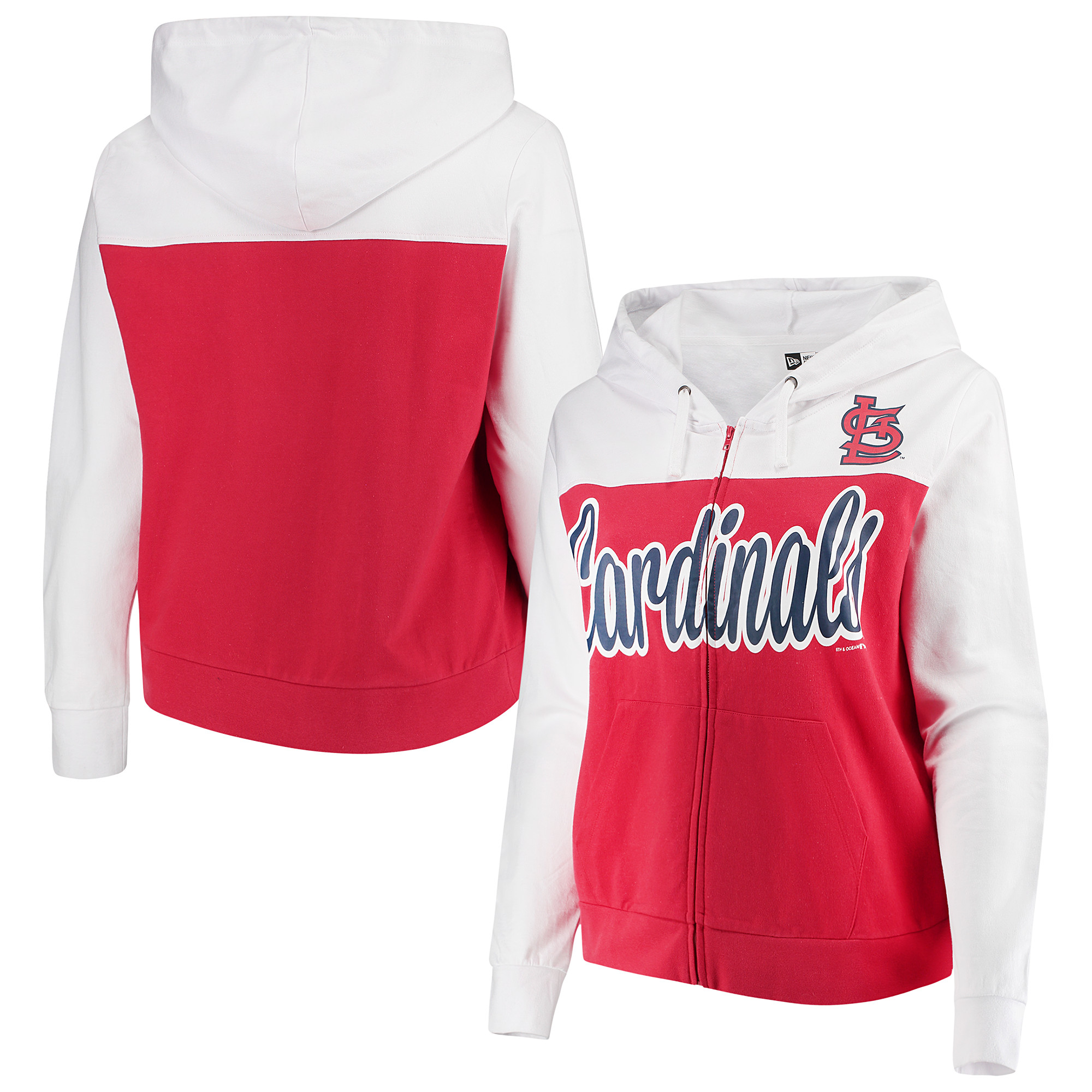 St. Louis Cardinals 5th & Ocean by New Era Women's Plus Size French Terry Color Block Full-Zip Hoodie - Red/White