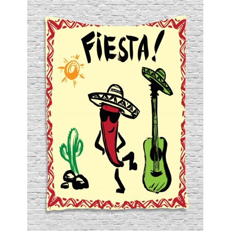 Festive Maraca - Fiesta Tapestry, Festive Mexican Party with Maracas Dancing Red Pepper Wearing a Sombrero and Guitar, Wall Hanging for Bedroom Living Room Dorm Decor, 40W X 60L Inches, Multicolor, by Ambesonne
