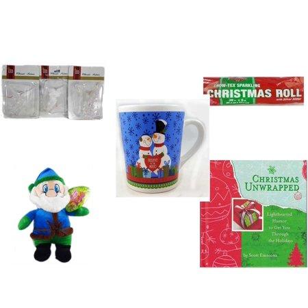 Christmas Fun Gift Bundle [5 Piece] - Brite Star Classic Trims Angel Ornament Set of 3 - Snow-Tex Sparkling  Roll 36