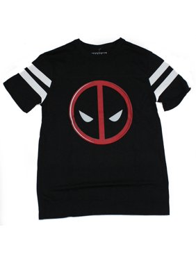 new product 4b489 b1630 Product Image Deadpool (Marvel Comics) Mens T-Shirt - Striped Sleeves  Classic Logo Iamge