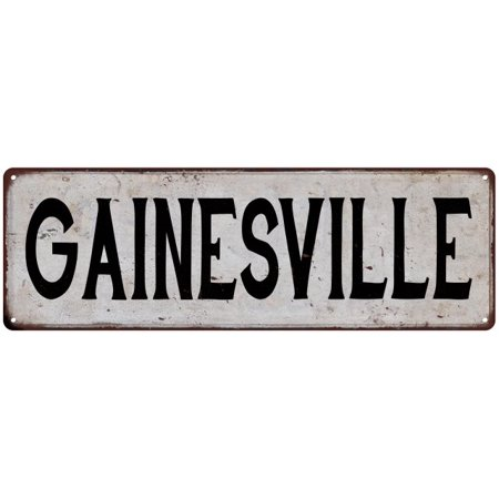 GAINESVILLE Vintage Look Rustic Metal City State Sign 6 x 18 High Gloss Metal 206180041319 - City Halloween Gainesville
