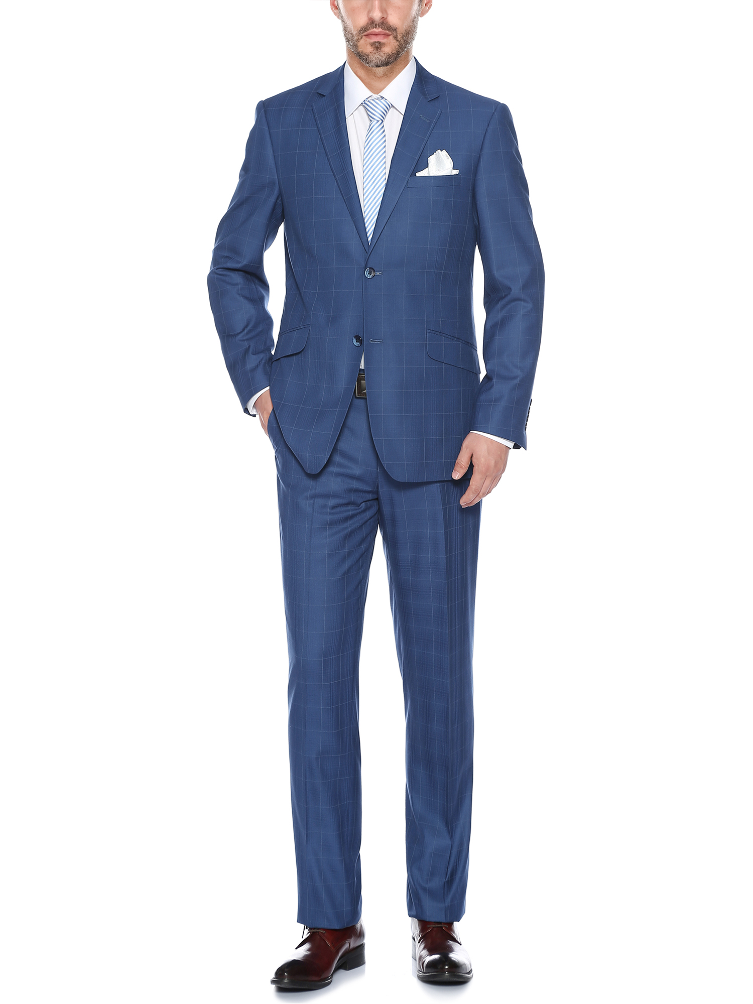 Men's Stylish Windowpane Slim Fit Notch Lapel Suit