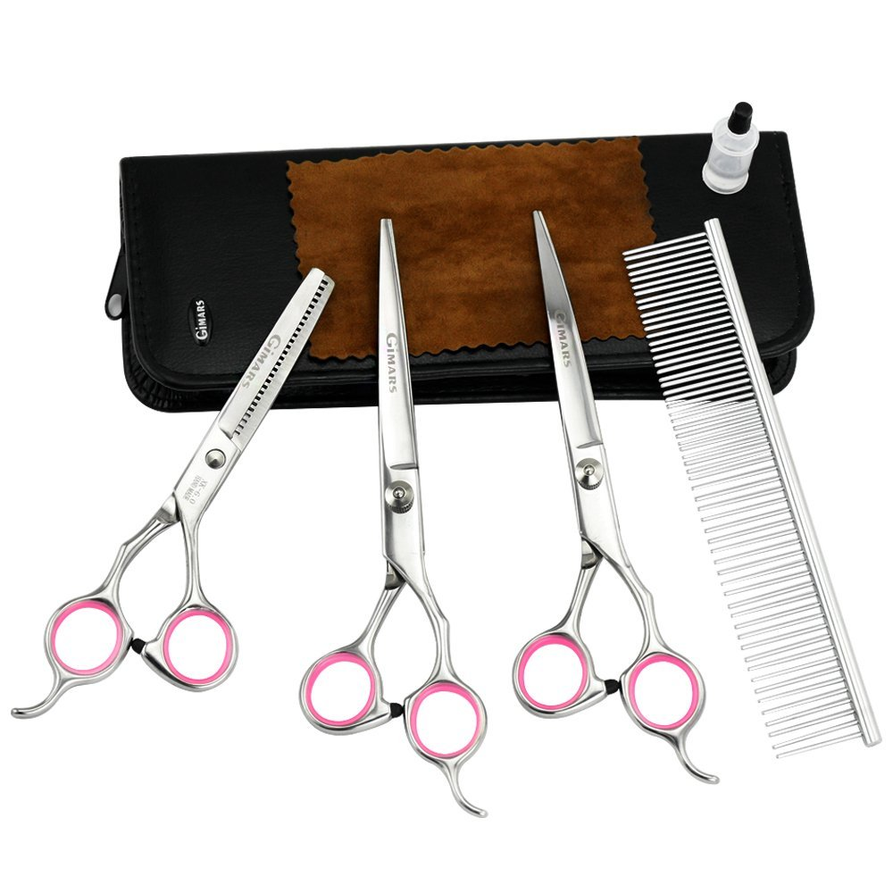 Gimars Pet Dog Grooming Scissors Kit Professional Stainless Steel Cat Rabbit Straight Curved Thin Cutting Shear with Trimming Comb and Clean Cloth, Green Monday / Christmas Day Deal