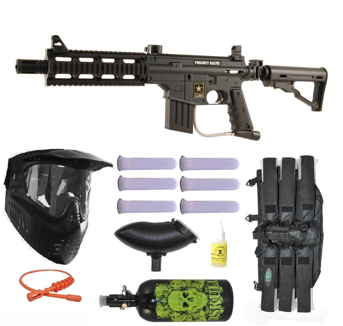 US Army Project Salvo Paintball Marker Gun 3Skull N2 Mega Set - Black