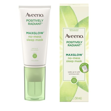 Aveeno Positively Radiant MaxGlow No-Mess Sleep Face Mask, 1.7 fl. (Aloe Vera Face Mask For Dry Skin)