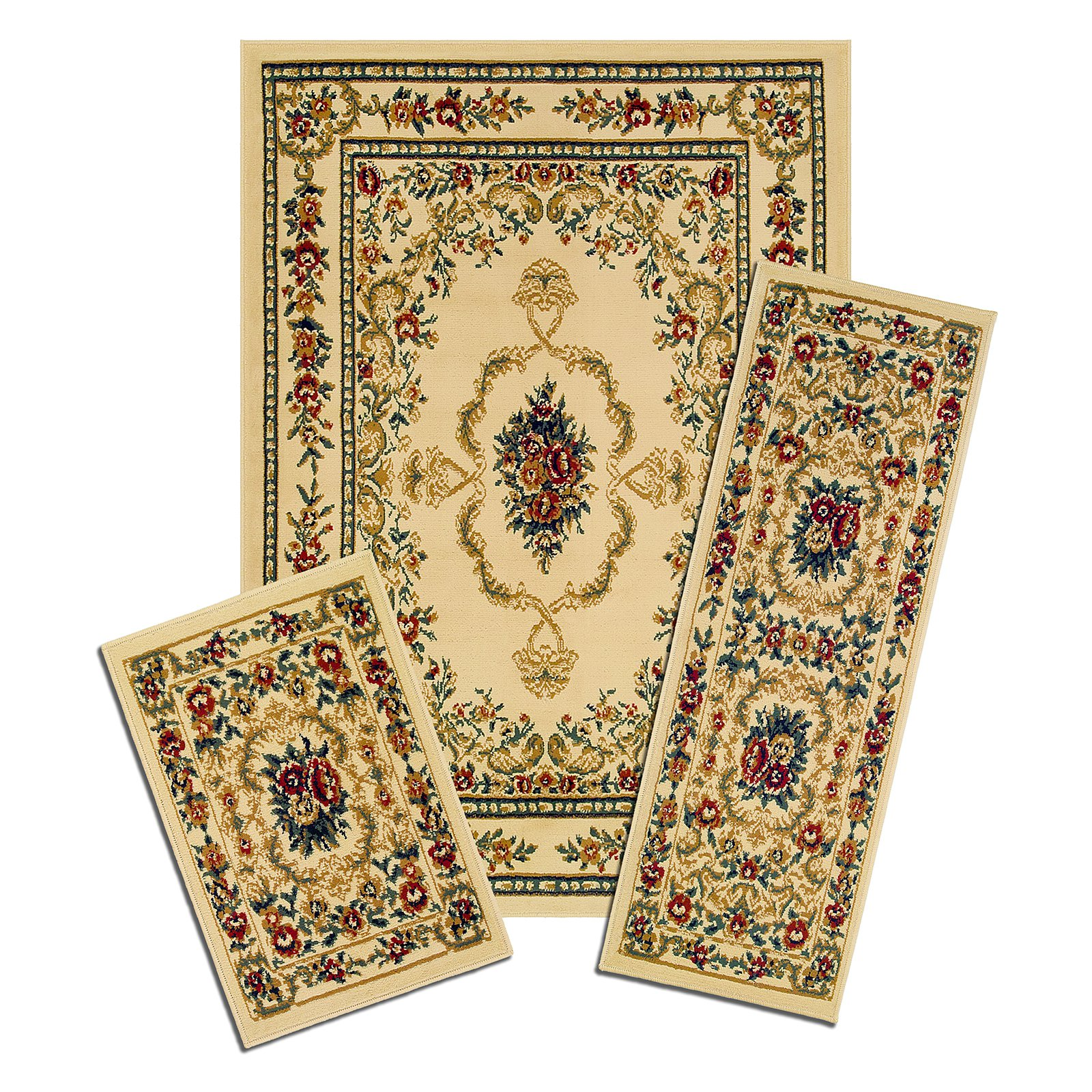 "Capri 3 Piece Rug Set, Savonnerie 3-Piece Capri Area Rug Set contains: 5' x 7' area rug with matching 22"" x 59"" runner and 22"" x 31"" mat"