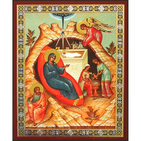 Russian Icon of Nativity of Christ Gold Foiled Mounted On Wood 3 x 2-1/2 Inch by World Faith (Gold Foil Words)