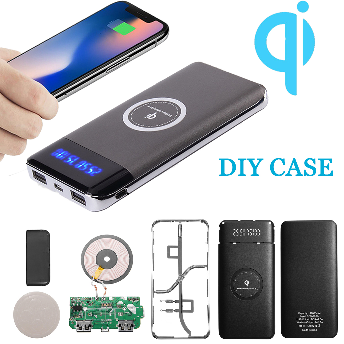 10000mAh Qi Charger LED Power Bank DIY Case Wireless Charging USB for Samsung Galaxy Note 8 S9/S8/S8 Plus/S7 Edge/S7, for iPhone X 8 Plus 8