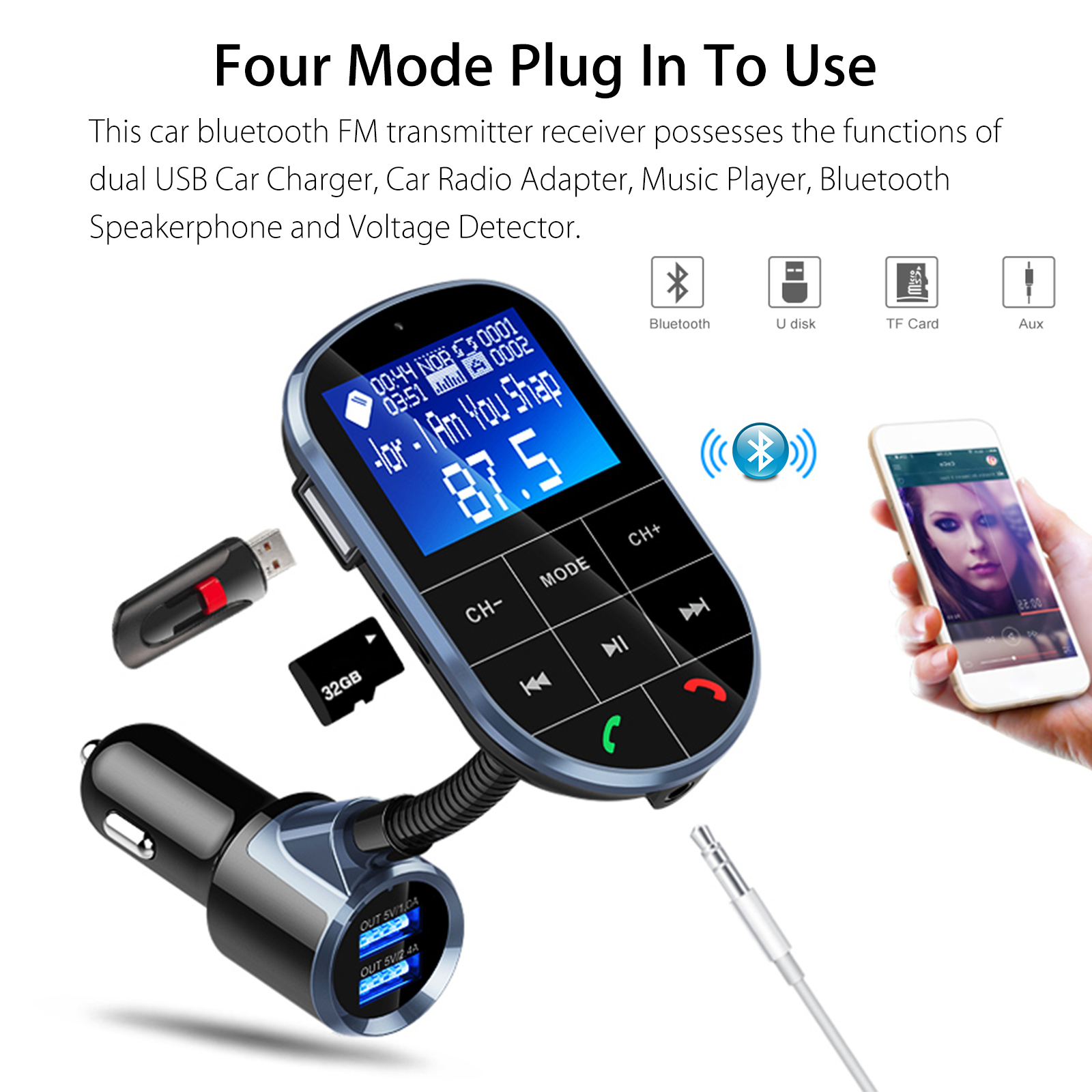 Bluetooth V4 2 FM Transmitter for Car, Wireless Bluetooth FM Radio Adapter  2 Ports USB Car Charger with Hands-Free Calling