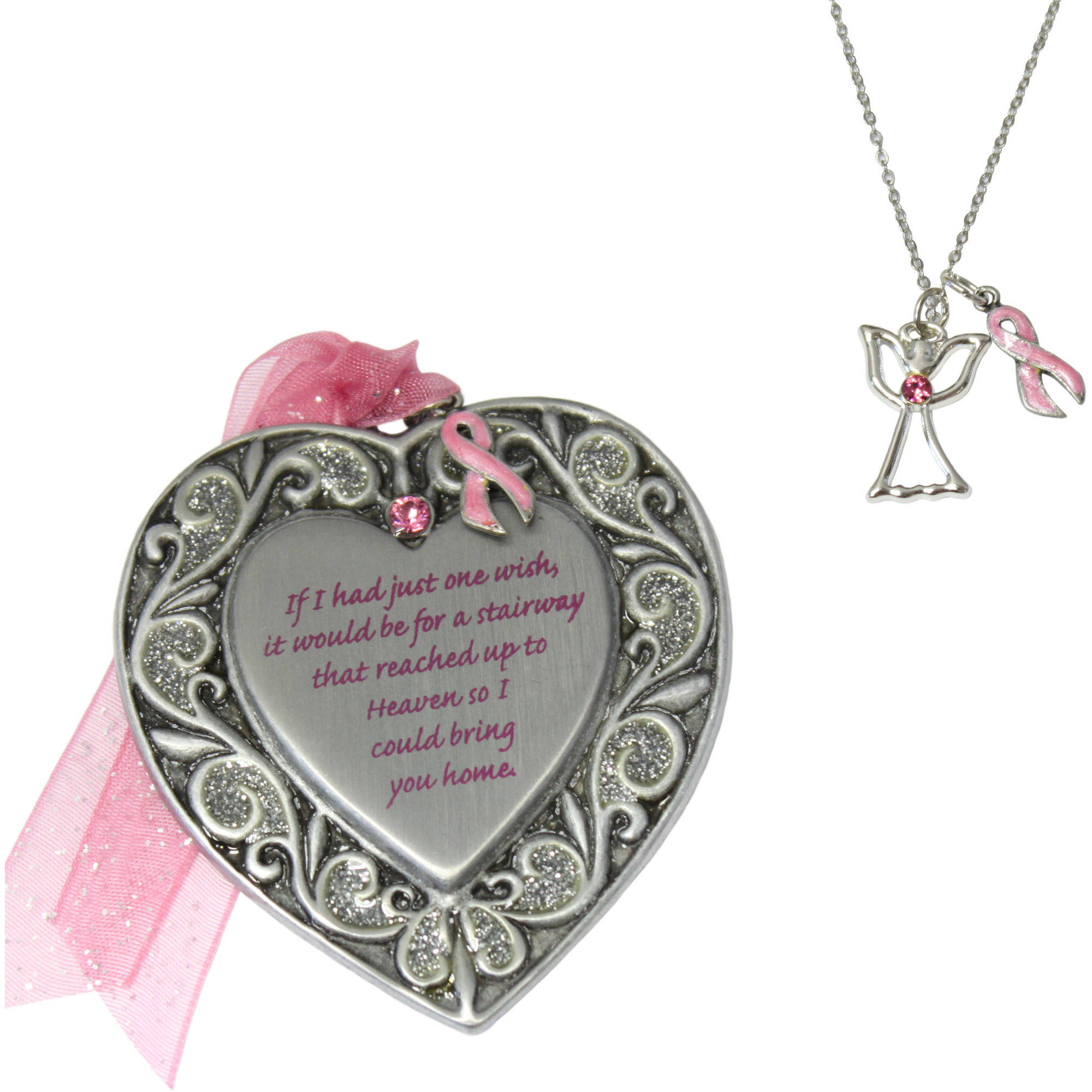 Personalized Gloria Duchin 2pc Breast Cancer Awareness Ornament and Necklace Set, 18""