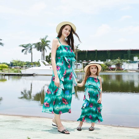 6368ea615cfcf Mommy and Me Maxi Dresses Casual Spaghetti Strap Bohemia Floral Printed  Matching Dresses for Daughter and Mom Summer Womens Girls Beach Dress