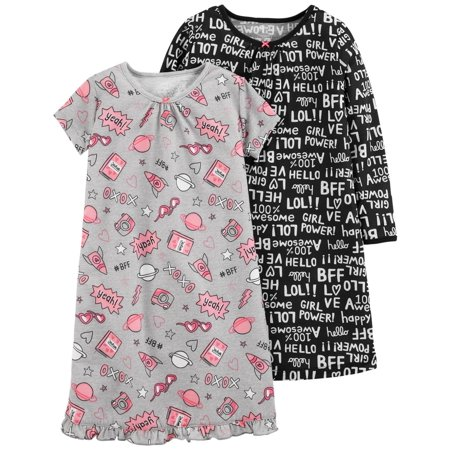 Carter's Little Girls' 2-Pack Graphic Sleep Gowns, 2-3 Kids (Kids Gowns)