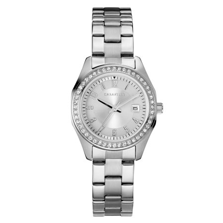 Caravelle Crystal Watch (Caravelle Women's Stainless Steel Bracelet Crystal Sport Watch 28mm )