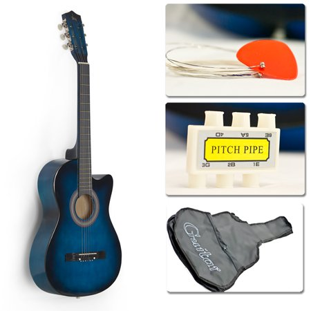 Blue Acoustic Guitar Cutaway Design W  Guitar Case  Strap  Tuner And Pick