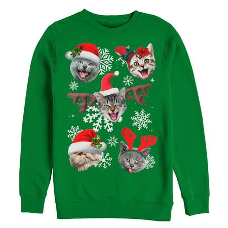 Men's Ugly Christmas Sweater Cat Reindeer Snowflakes Sweatshirt - Ugly Cat Sweater