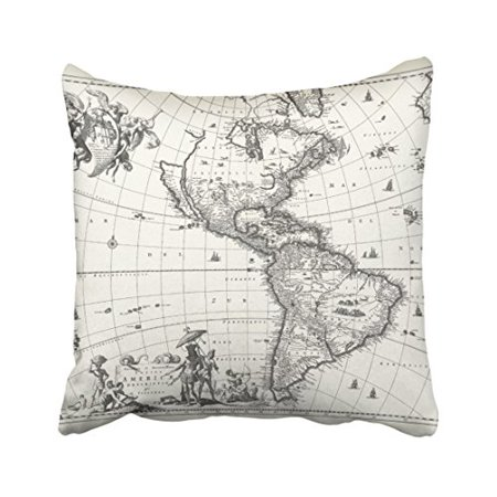 WinHome Vintage Artistic Map Classic Of The Americas Pencil Drawing Fashion Shabby Chic Polyester 18 x 18 Inch Square Throw Pillow Covers With Hidden Zipper Home Sofa Cushion Decorative Pillowcases
