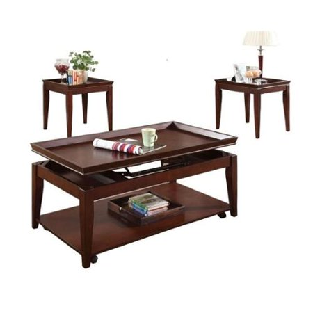 Steve Silver Company Clemens 3 Piece Lift Top Casters Cocktail Table Set In Cherry