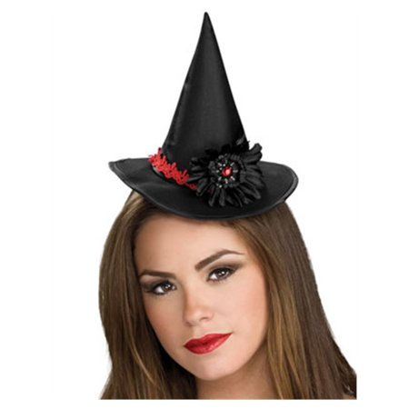 Women's Deluxe Black Mini Witch Hat With Flower Accent (Womens Witch Hat)