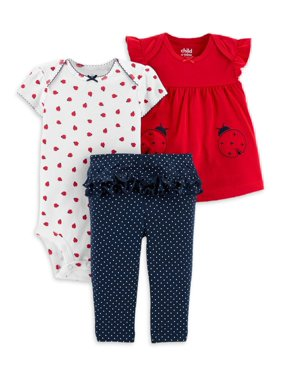 Child of Mine by Carter's Baby Girl Shirt, Bodysuit & Ruffle Pant Outfit, 3pc Set