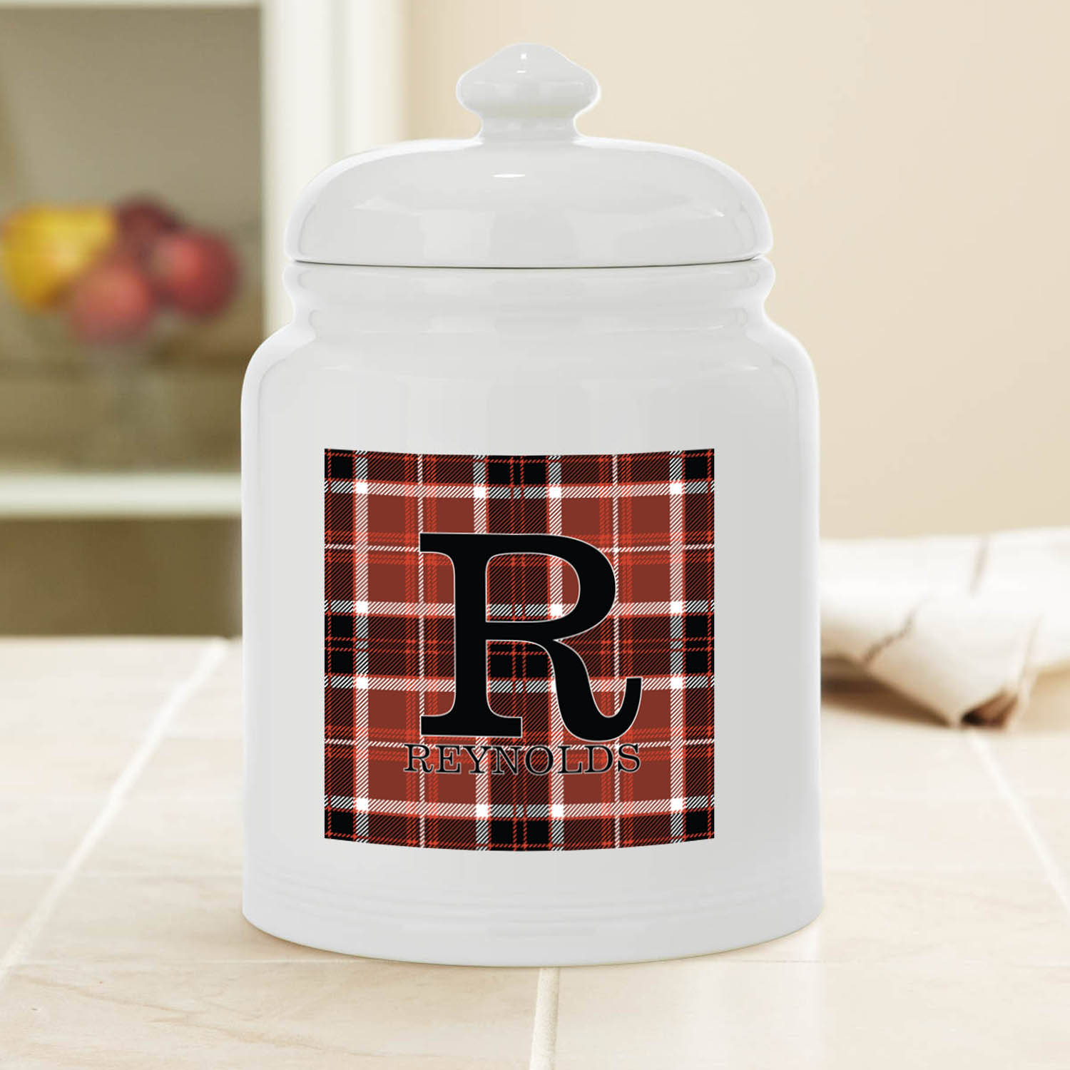 Personalized Plaid Name Cookie Jar