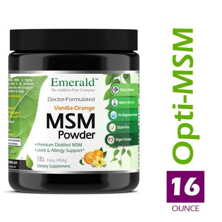Emerald Laboratories (Ultra Botanicals) - MSM Powder - Joint Support for Aches & Pains, Anti-Inflammatory, Stress Relief, Supports Digestive System, & Allergy Relief - Vanilla Orange Flavor - 16