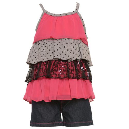 2 Be Real Little Girls Fuchsia Grey Sequined Tiered Top 2 Pc Shorts Set 2T