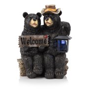 Alpine Corporation Bear Couple with Lantern and Welcome Sign Statue with Solar LED Lights