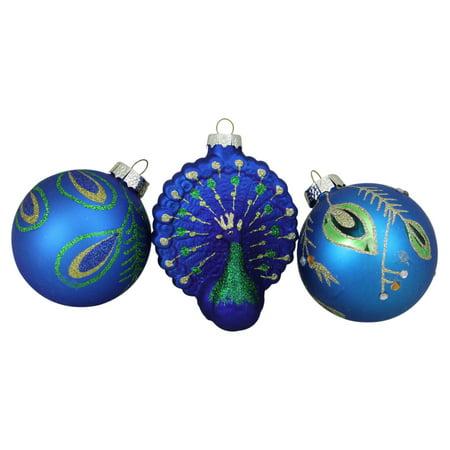 Peacock Glass Christmas Ornaments - Set of 3](Peacock Christmas)