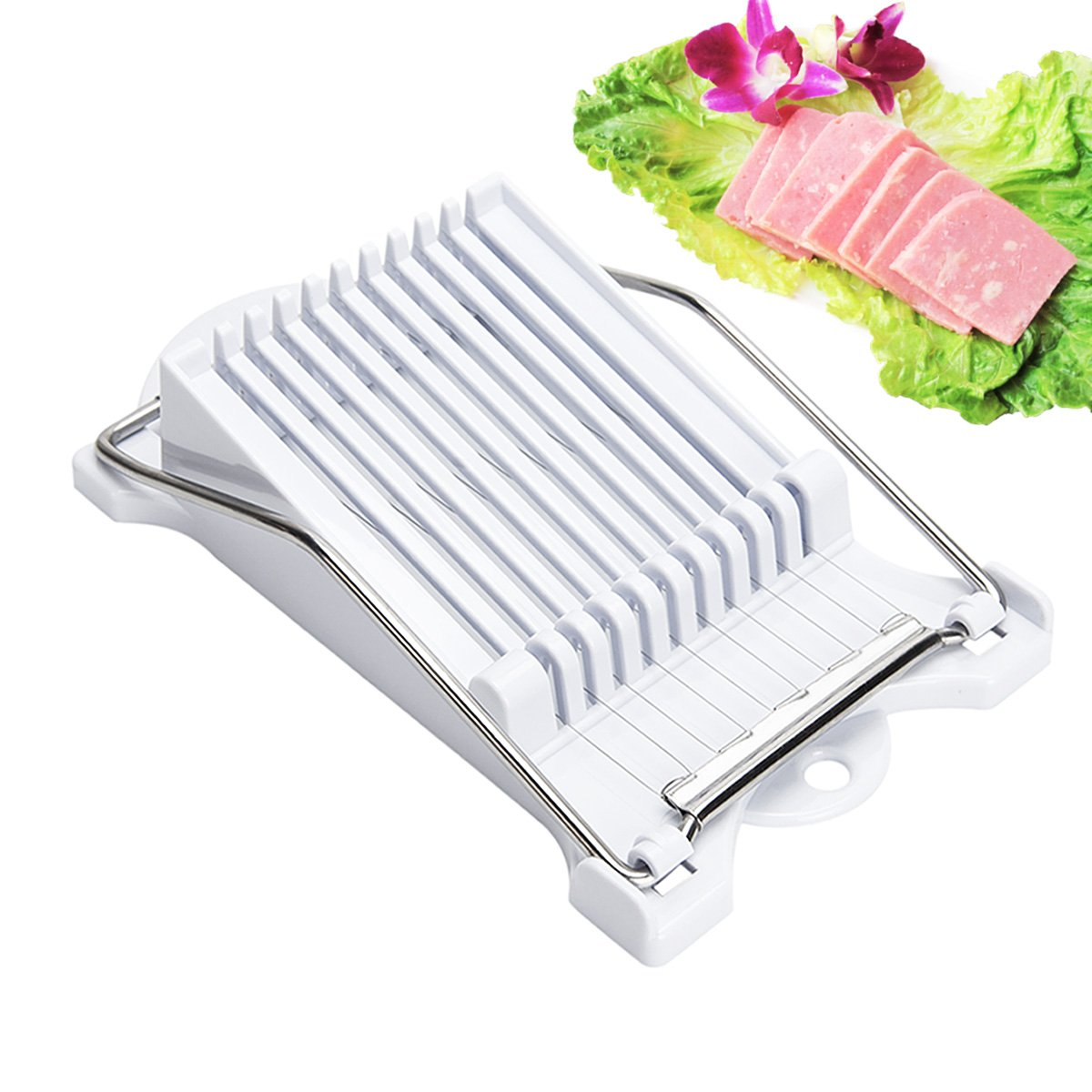 Jeobest Luncheon Meat Slicer - Stainless Steel Wire Egg Slicer - Multipurpose Stainless Steel Meat Egg Slicer Cheese Slicer Boiled Fruit Slicer Sushi Cutter Canned Meat Slicer with 10 Cutting Wire MZ