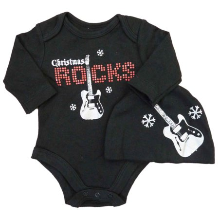 Baby Glam Infant Boys Black Christmas Rocks Creeper Guitar Bodysuit   Cap