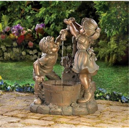Zingz & Thingz 57070049 Children Outdoor Garden Water Fountain with Fun and Play Bronze Look