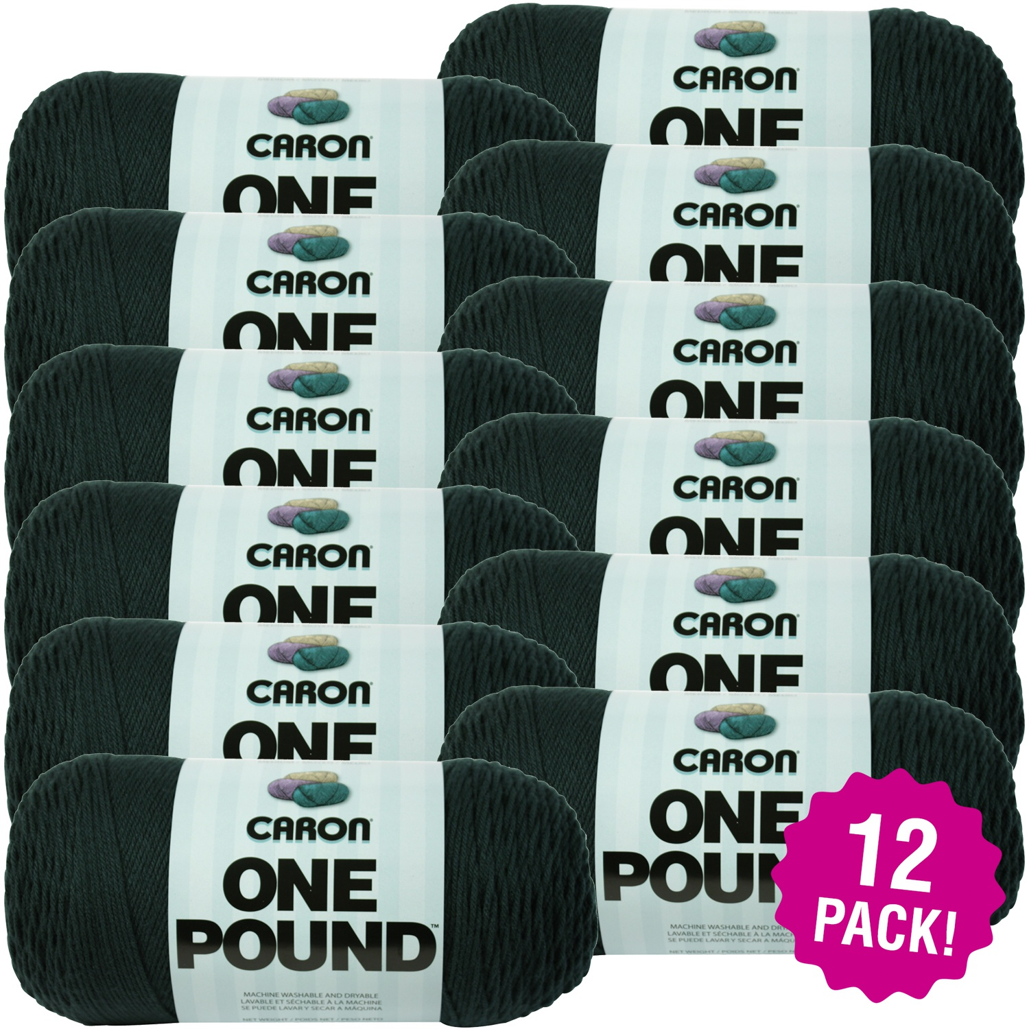 Caron One Pound Yarn - Forest Green, Multipack of 12