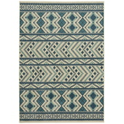 "Capel Rugs Genevieve Gorder Aster-Kelim Rectangular Machine Woven Area Rug - Blue- 7' 8"" x 10' 10"""