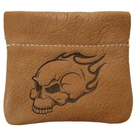 Leather Flaming Skull Squeeze Coin Pouch Change Purse USA Made, - Woodmans Pal Leather