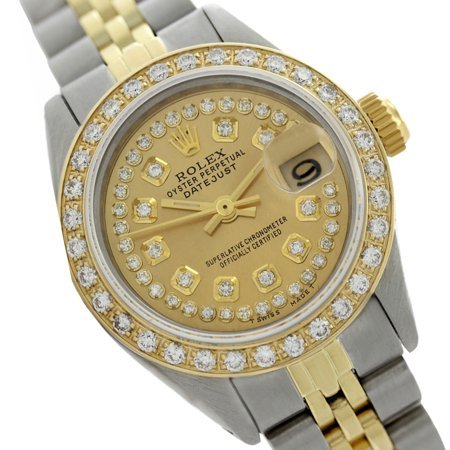 Rolex Ladies Datejust Champagne Diamond  Dial & Bezel Two Tone (Ladies Two Tone White Dial)