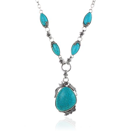 - Novadab Antique Silver Tibet Turquoise Necklace