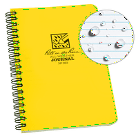"Rite in the Rain Weatherproof Side Spiral Notebook, 4.625"" x 7"", Yellow Cover, Journal Pattern (No. 393)"