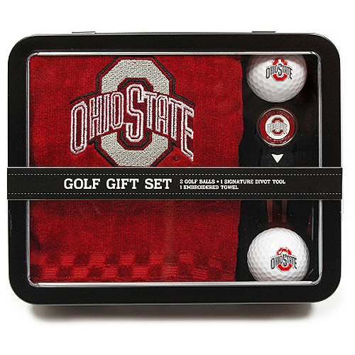 Team Golf NCAA Ohio State Embroidered Golf Towel, 2 Golf Balls, And Divot Tool Set