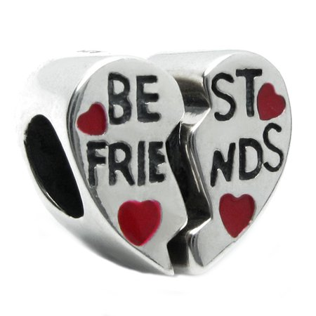 Sterling Silver Best Friends Red Heart European Style Bead Charm Fits