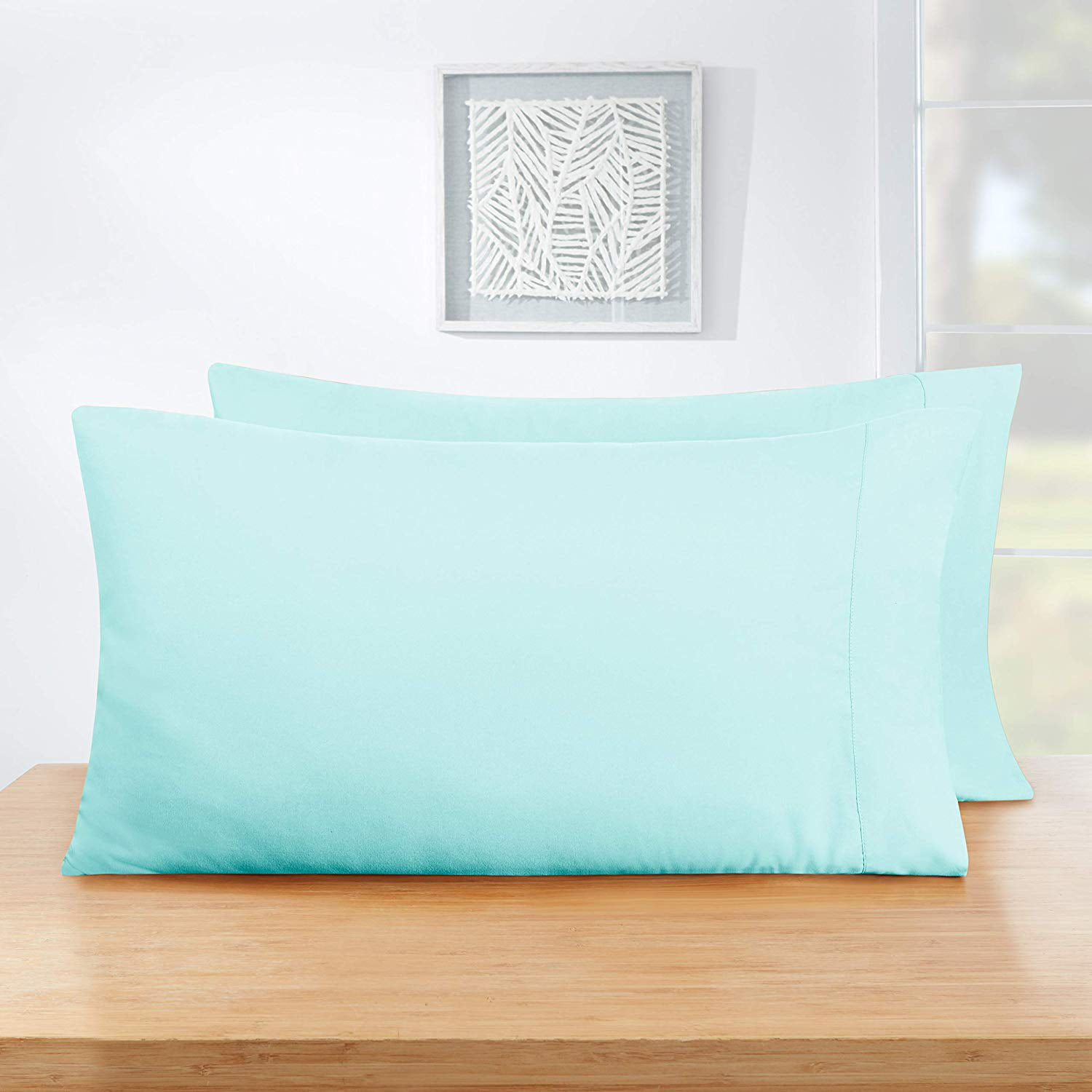 Hypoallergenic Cool /& Wrinkle Free Cosy House Collection Pillowcases King Size Premium Super Soft Hotel Quality Pillow Protector Cover Baby Blue Luxury Pillow Case Set of 2