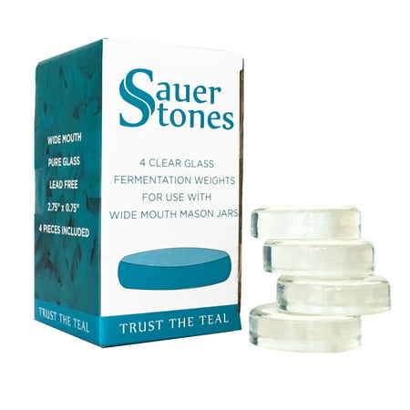 Large Jars (Sauer Stones - Large Glass Fermentation Weights for Mason Jar Fermentation, Preservation and Pickling - Fits ANY WIDE MOUTH MASON JAR - 4)