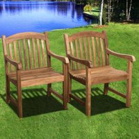 Amazonia Clanfield Teak Wood Outdoor Stacking Chairs, Set of 4, Light Brown by International Home Miami
